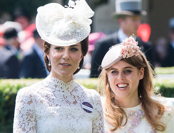 Catherine and Princess Beatrice rub shoulders at Royal Ascot. *(Image: Getty)*