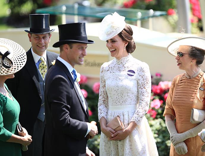 "The annual pilgrimage to [Royal Ascot](https://www.nowtolove.com.au/royals/british-royal-family/royal-ascot-fashion-49315|target=""_blank"") always offers up fabulous royal dynamics. Here, Sophie of Wessex, Prince Edward, Prince William, Duchess Catherine and Princess Anne rub shoulders at the horse racing event. *(Image: Getty)*"