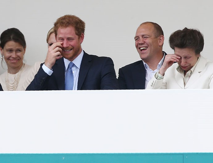 What's so funny? Lady Sara Chatto, Zara Tindall, Prince Harry, Mike Tindall and Princess Anne find themselves in stitches and we'd just love to know the joke. *(Image: Getty)*