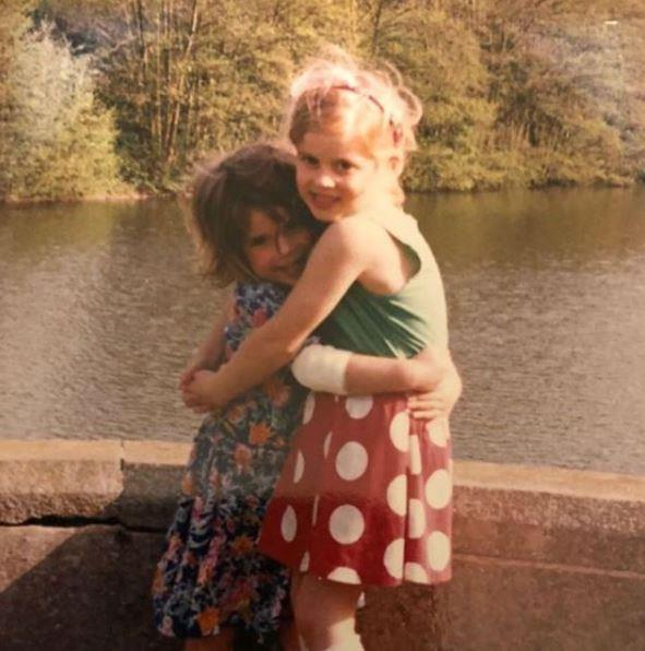 "We're not crying, you're crying! This pic is almost too sweet for words. Sharing an old picture of her and sister Beatrice, Eugenie wrote: ""#tbt to when Beatrice wore the same outfit all the time and I loved her for it.... #sisters"" *Image: Instagram/[@princesseugenie](https://www.instagram.com/princesseugenie/