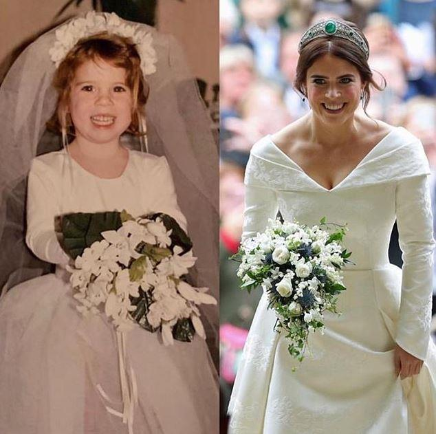 "Oh how she's grown! Eugenie shared these cracker throwback snaps of a *very* young Princess playing bride, compared to the [real deal](https://www.nowtolove.com.au/royals/british-royal-family/princess-eugenie-wedding-photo-never-seen-52646|target=""_blank"") just a few months ago! The stunning royal captioned the pic: ""Same same but different...#tbt"".  *Image: Instagram/[@princesseugenie](https://www.instagram.com/princesseugenie/