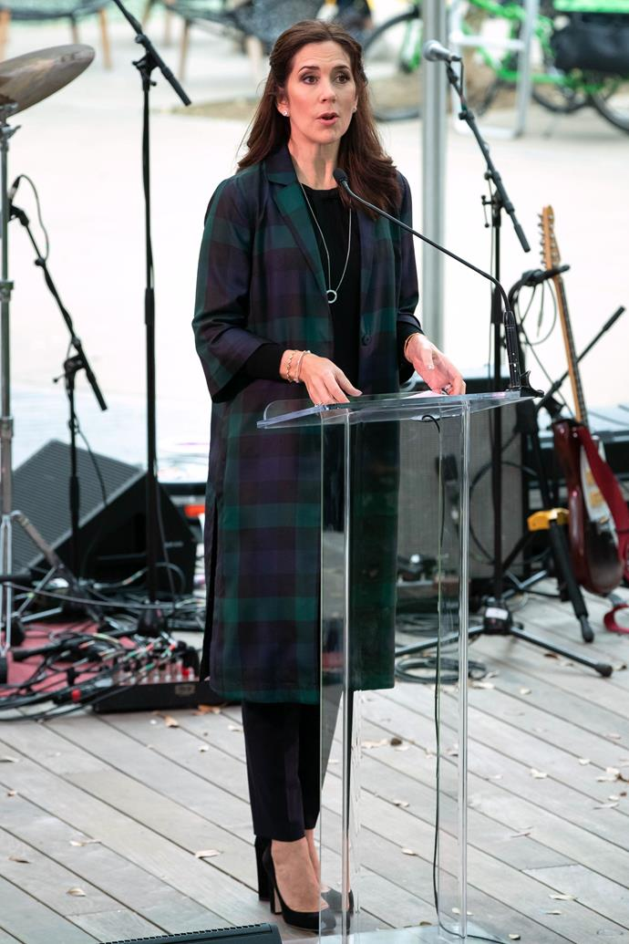 Mary kicked things off with a bang on March 11 where she delivered a speech at the SXSW House of Scandanavia in Texas. Her gorgeous tartan coat paired with black pants and heels looked smart, chic and oh-so-stylish. *(Image: Getty)*