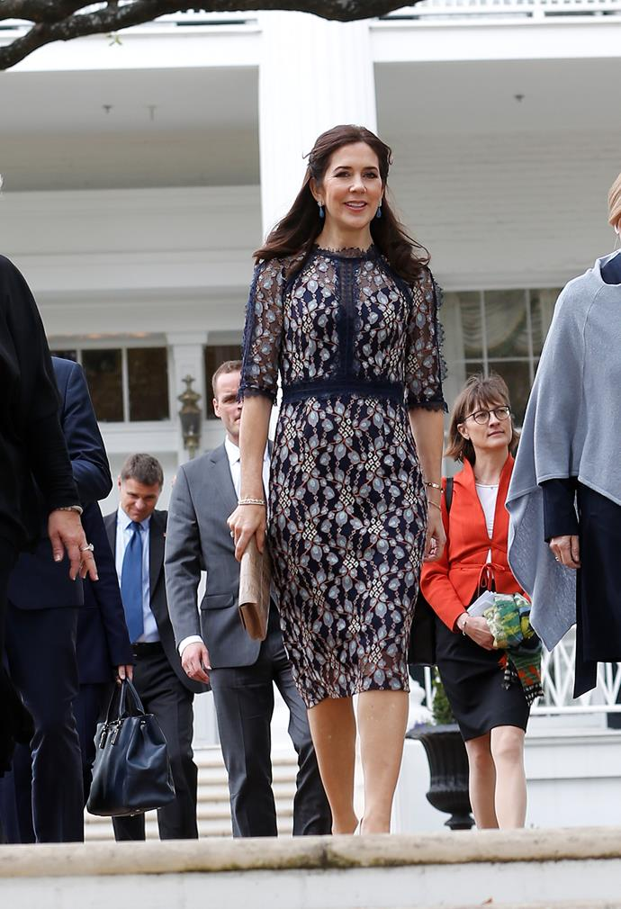 "That same day, the [stunning royal](https://www.nowtolove.com.au/royals/international-royals/princess-mary-christmas-53160|target=""_blank"") then stepped out in this gorgeous navy printed ensemble as she attended a meeting with the Governor of Texas, Greg Abbott. *(Image: Getty)*"