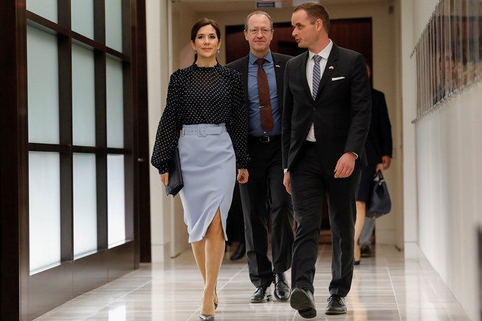 That same day, Mary attended an event highlighting the collaborations in science between Texas and Denmark.  Talk about a woman of power - the Princess oozed confidence. *(Image: Getty)*