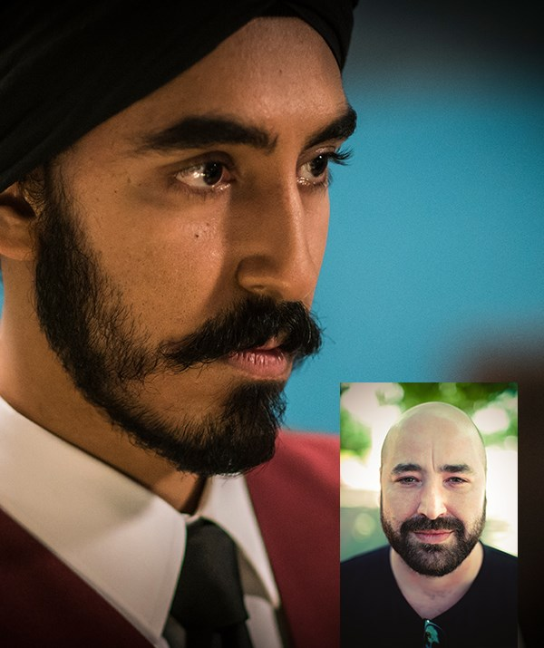 Dev Patel as Arjun in *Hotel Mumbai*; (inset) director Anthony Maras, clearly *not* giving a thumbs up.
