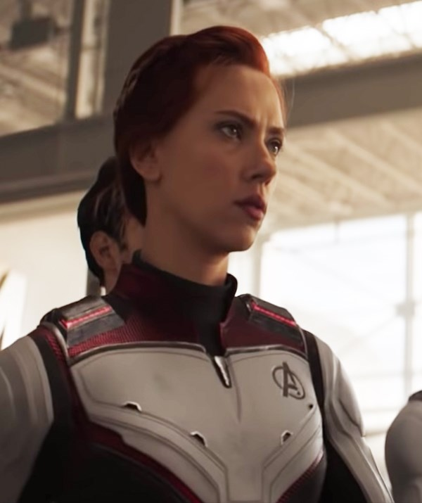 Scarlett Johansson losing the blonde and returning to redhead in *Avengers: Endgame*.