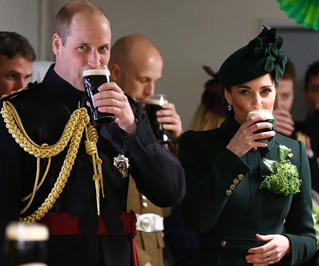 Bottoms up! The royal couple enjoyed a glass of Guinness - a custom of sorts for the Irish celebration. *(Image: Getty)*