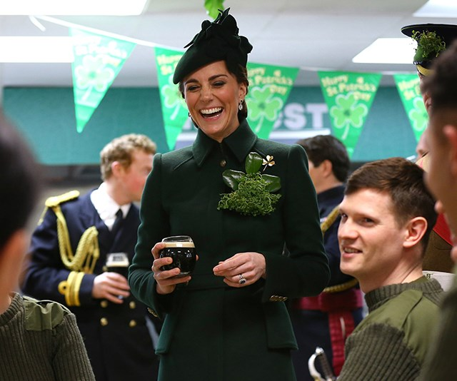 Along with her Lock and Co hat, Kate accessorised the coat with the very special golden shamrock brooch. Crafted by Cartier, the brooch is understood to have been presented to Princess Mary in 1961. It has since been worn by other royals including Princess Anne and the Queen Mother.