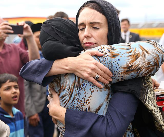 "As the city of Christchurch grieved following the harrowing events of March 15, 2019 where at least 50 people were killed in a mass shooting at a mosque, Jacinda was strong, supportive and spoke words the nation needed to hear: ""They are us. The person who has perpetuated this violence against us is not."" *(Image: Getty)*"