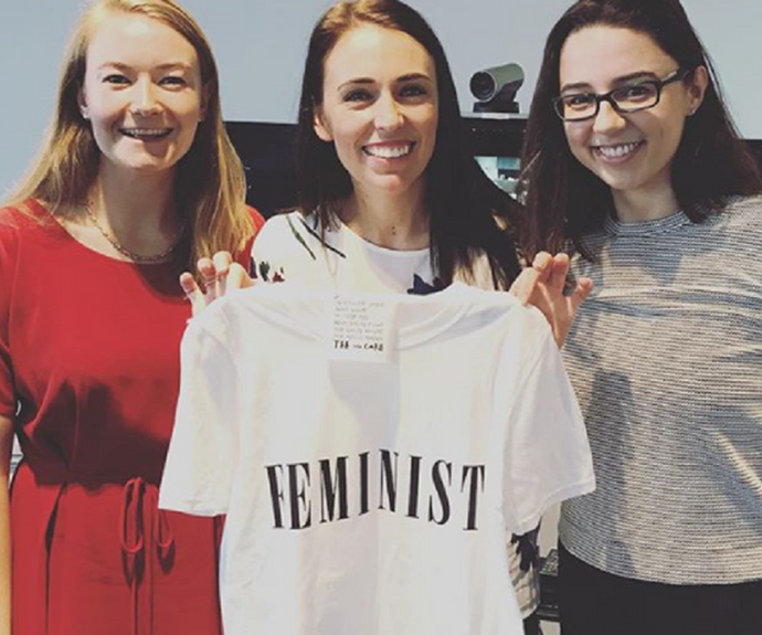 The clothing says it all: Jacinda has never held back from being vocal about her beliefs in feminism and equality for all. *(Image: Instagram @jacindaardern)*