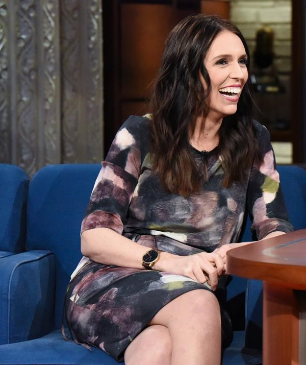"""Appearing on *The Late Show with Stephen Colbert* not long after the meeting, Jacinda was open about the realities of motherhood, opening discussing how she was stopped for a chat while shopping for maternity bras and [her penchant for wearing Spanx](https://www.nowtolove.com.au/women-of-the-future/the-weekly/jacinda-ardern-two-pairs-spanx-51558