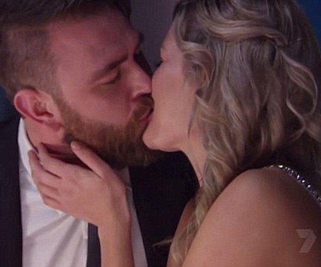 """**Bek and Kyle: Season 8** <br> <br> It was the kiss that stopped a nation...sort of. In an *MKR* first, Bek Outred and Kyle McLean locked lips at eventual winners Amy and Tyson Murr's first instant restaurant round. But it turned out to be a cheeky fling (if that) with Bek admitting, """"There was a spark there, but we just work out better as friends."""" *(Image: Channel Seven)*"""