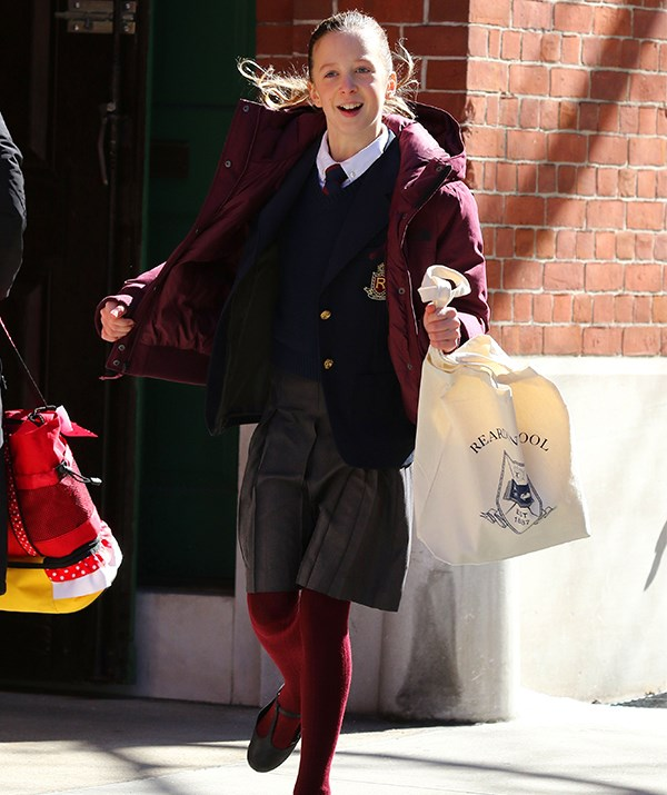 Sunday Rose looked well and truly in-character as she was spotted running around the set in a school uniform. *(Image: Mega)*