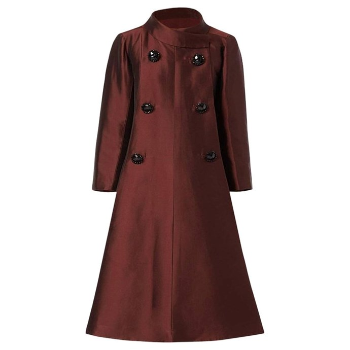 """The stunning vintage Dior coat was the perfect style for heavily pregnant Meghan - and similar to her Courreges coat she was seen wearing in New York (pictured below). *(Image: [1stDibs](https://www.1stdibs.com/fashion/clothing/coats-outerwear/dior-unlabelled-haute-couture-evening-silk-brown-coat-1950/id-v_5786182/ target=""""_blank"""" rel=""""nofollow""""))*"""