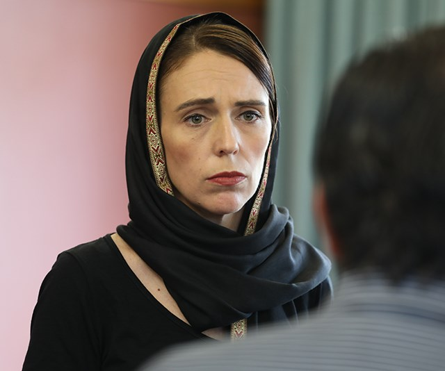 Ardern has taken on an entire country's grief following the harrowing attacks on two Christchurch Mosques in March. *(Image: Getty)*