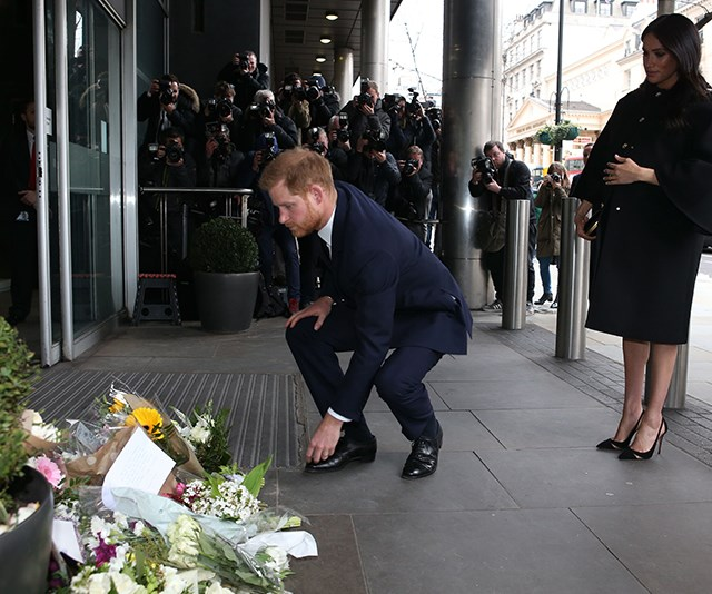 The royals lay floral tributes in front of New Zealand House in London. *(Image: Getty)*