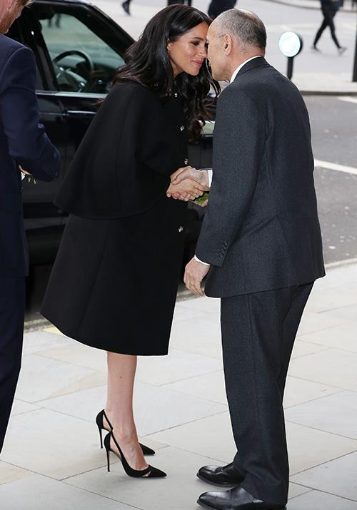 Meghan and Harry shared a Hongi with Sir Jerry Mateparae as they arrived. *(Image: Getty)*