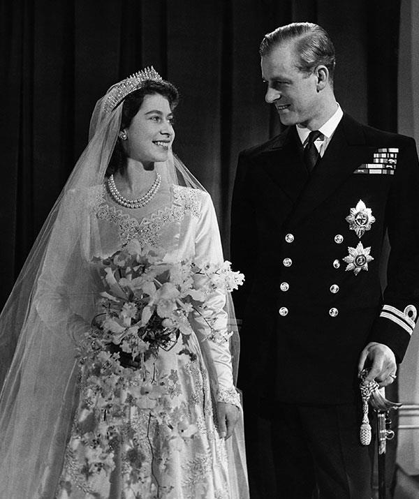 Prince Philip, who was then known as Philip Mountbatten, looked oh so regal in his military  uniform on his 1946 wedding day to a then Princess Elizabeth.