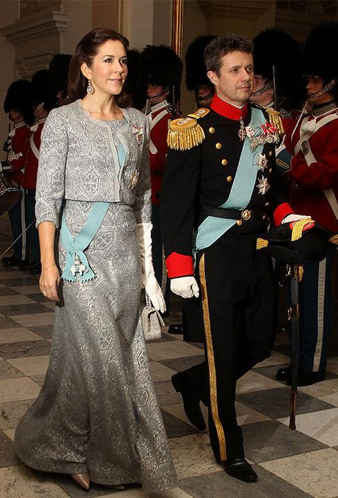 This is how the Danish Royals do New Year's!  Prince Frederik and Princess Mary turn heads at Queen Margrethe's New Year's Eve back at Christian VII's Palace in 2013.