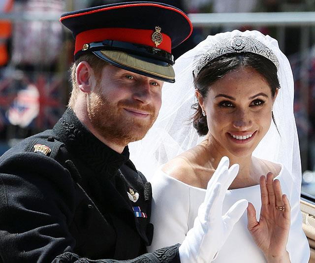 Picture perfect on their wedding day, Prince Harry donned his frockcoat uniform of the Blues and Royals.