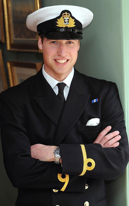 Prince William poses in his Royal Navy uniform in London in 2008. At the time, Wills was gearing up to join the Royal Navy searching for drug runners in Caribbean waters.