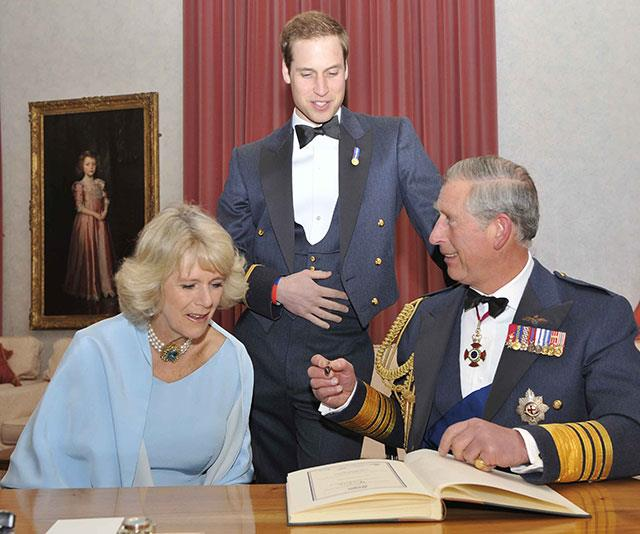 Prince Charles, Prince William and Duchess Camilla share a candid behind-the-scenes moment at an RAF dinner party in 2008.