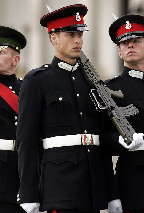 A very serious-looking Prince William participates in the Sovereign's Parade at the Royal Military Academy, Sandhurst.