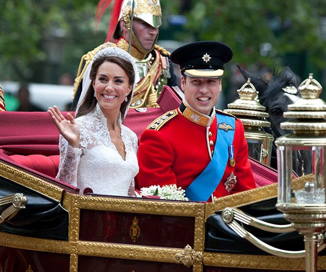"[For his 2011 wedding to Duchess Catherine,](https://www.nowtolove.com.au/royals/british-royal-family/the-best-moments-from-william-and-kates-wedding-19800|target=""_blank"") Prince William wore the striking Irish Guards mounted officer's uniform in Guard of Honour Order with a forage cap."