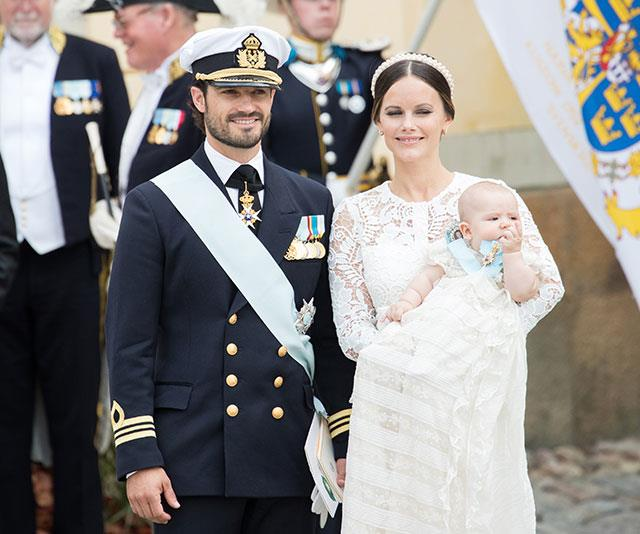 Prince Carl Philip and Princess Sofia at the christening of their son Prince Alexander at Drottningholm Palace Chapel in Stockholm, 2016.