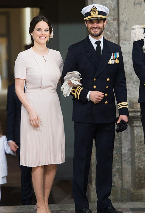 Princess Sofia and Prince Carl step out for the 70th birthday celebrations for Carl's father, King Carl Gustaf of Sweden.