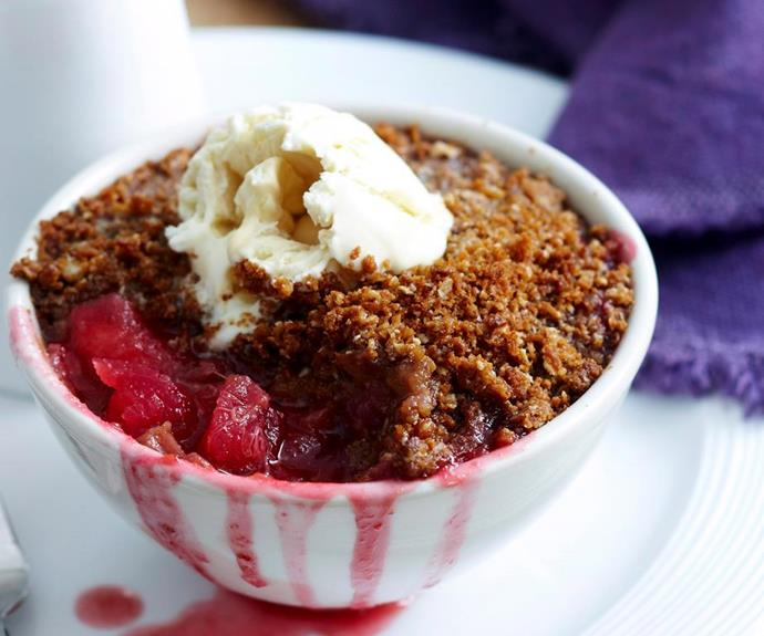 "**Apple, rhubarb and Anzac biscuit crumble** <br><br> With a crumbly crust made from sweet golden Anzac biscuits, this apple and rhubarb baked dessert is full of flavour, texture and goodness. <br><br> See the full *Australian Women Weekly* recipe [here](https://www.womensweeklyfood.com.au/recipes/apple-rhubarb-and-anzac-crumble-27416|target=""_blank"")."