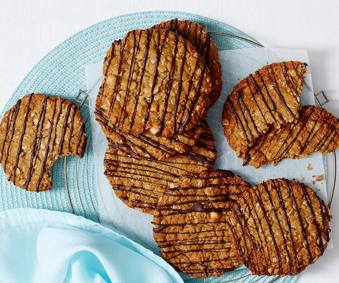 "**Giant Anzac biscuits** <br><br> Whether you love them chewy or crunchy, this versatile Anzac biscuit recipe is perfect! Just adjust the cooking time for your preferred bikkie and you'll have a new go-to recipe for every Anzac Day. <br><br> See the full *Australian Women's Weekly* recipe [here](https://www.womensweeklyfood.com.au/recipes/giant-anzac-biscuits-2193|target=""_blank"")."