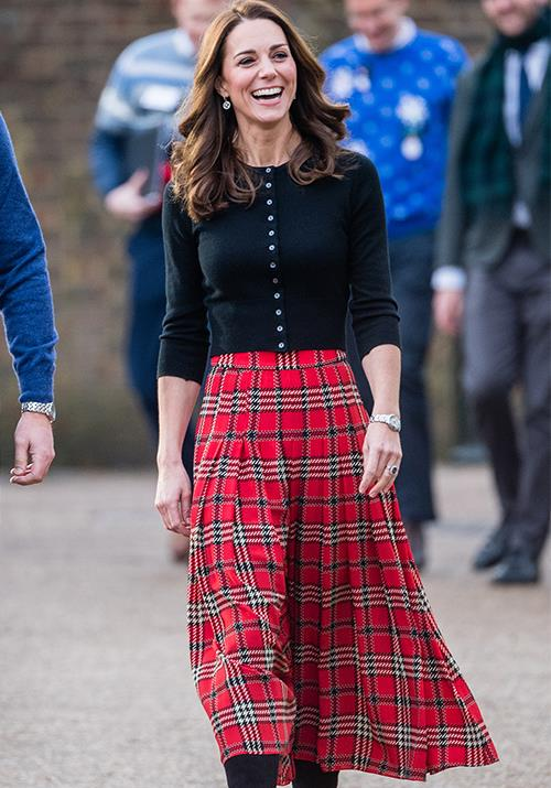 A few months later, Kate stepped out for a Christmas party in December 2018 wearing a fittingly festive ensemble.
