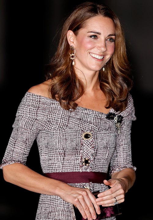 """Kate's Erdem grey tartan dress accessorised with a maroon belt was utter perfection as she [attended the opening](https://www.nowtolove.com.au/royals/british-royal-family/kate-middleton-new-dress-51751