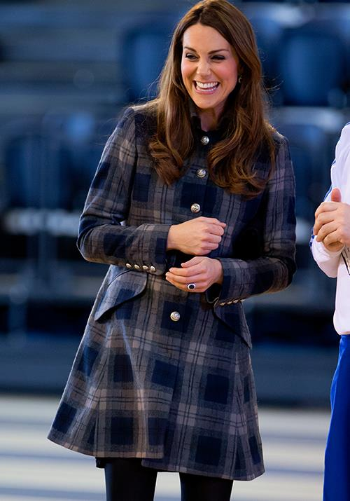 Following in her late mother-in-law's footsteps, Duchess Catherine quickly garnered a penchant for tartan. In April 2013, she was pictured wearing a chic Princess coat in the iconic print.