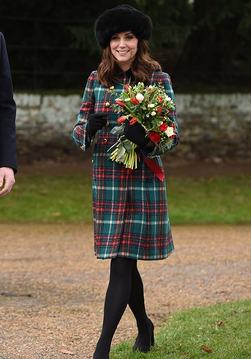 Fittingly festive as always, Kate rocked another tartan ensemble for Christmas Day 2017.