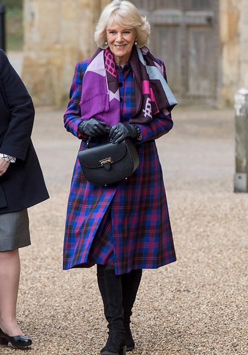 You can't deny Camilla's love for the print - she went for shades of pink and purple in February 2017 while attending a literature festival.