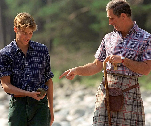 Like father like son! William and dad Charles are big fans of a printed shirt (not to mention Charles' tartan kilt!) - they were pictured here in 1997 at the Balmoral Castle Estate.