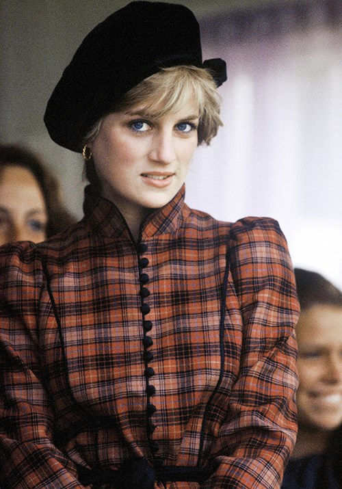 Let's start with the original Queen of tartan herself, Princess Diana. Here, the stunning royal is pictured in September 1982 wearing the print for the Braemar Highland Games.