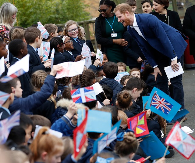 Crown or no crown, the kids were excited to see a real life Prince! *(Image: Getty)*