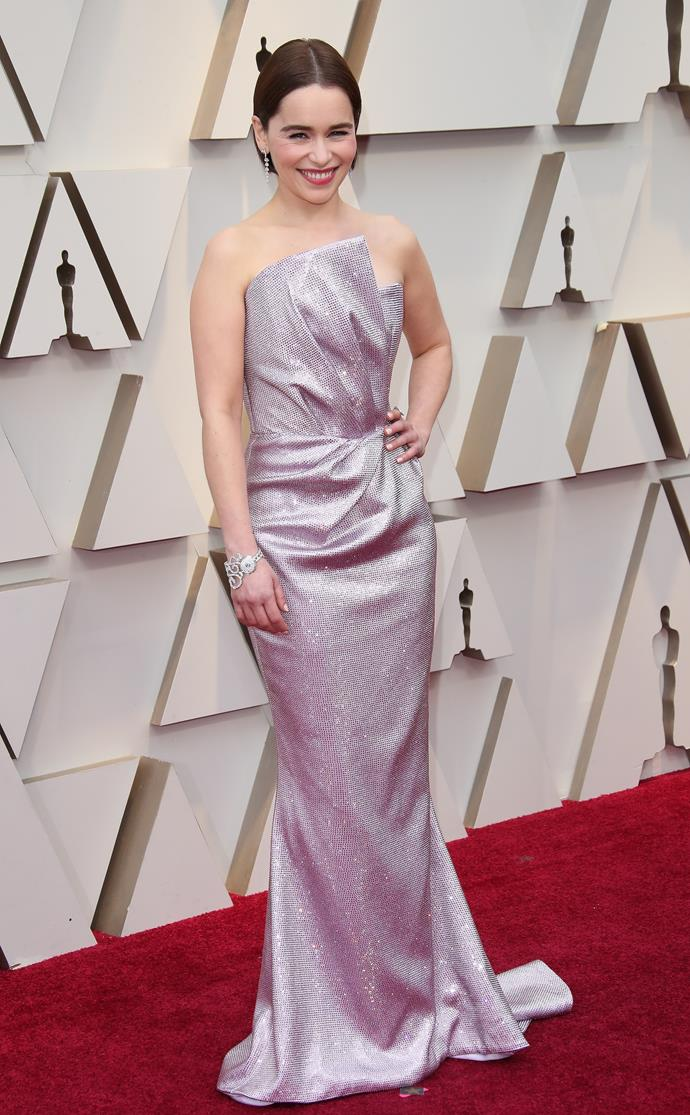 Emilia on the red carpet at the Oscars this year. *(Image: Getty)*