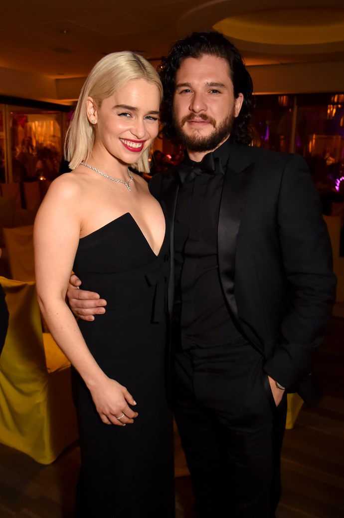 With fellow Game of Thrones star Kit Harington. *(Image: Getty)*