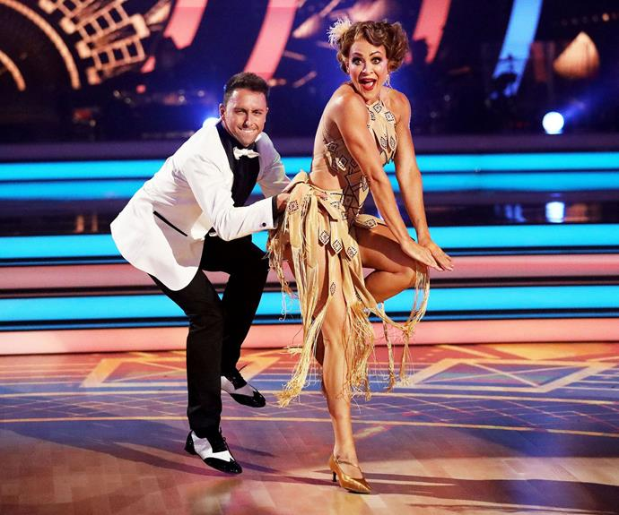 Michelle and Ari dancing the Quick Step. *(Image: Channel 10)*