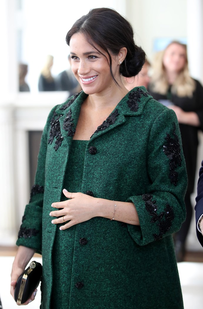 """And we are mad about her maternity fashion, [check out all her best looks here](https://www.nowtolove.com.au/royals/british-royal-family/meghan-markle-maternity-fashion-51842 target=""""_blank""""). *(Image: Getty Images)*"""