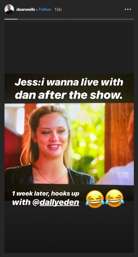 Are Jess and Dan the real deal? Dean Wells doesn't think so. *(Image: Instagram @deanwells)*