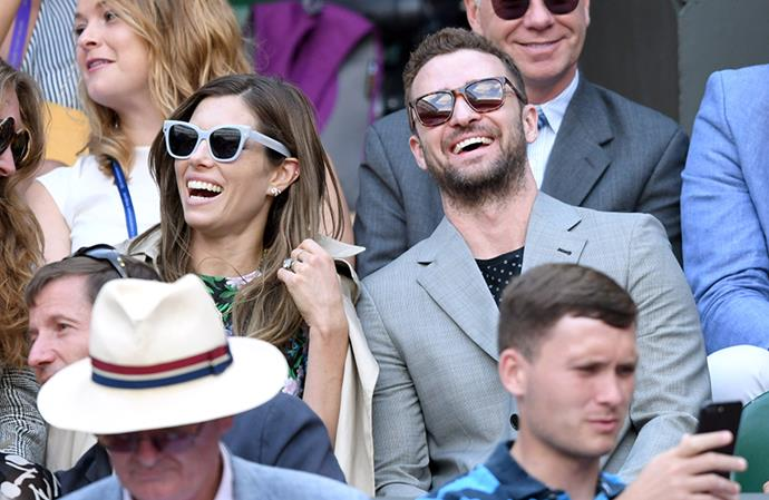 Jessica Biel and Justin Timberlake spotted in the crowd at Wimbledon 2018.