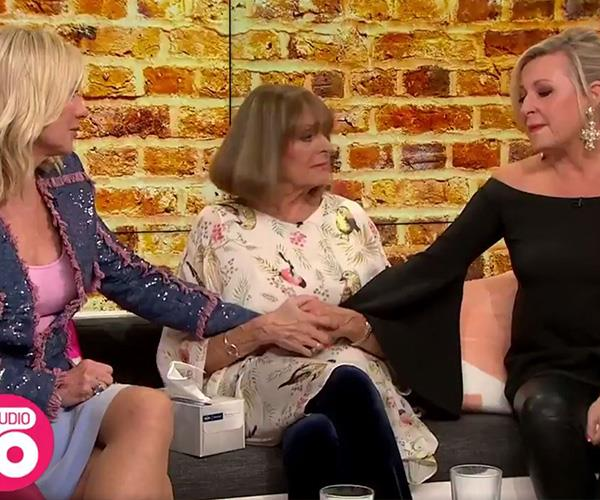 Kerri-Anne shared a moment with co-host Angela Bishop, who also lost her husband. *(Image: Network Ten)*