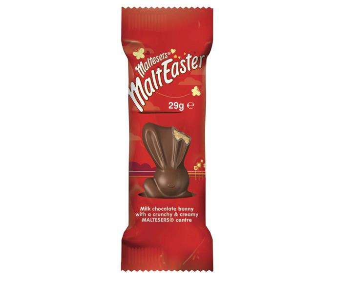 **Malteser Bunny** <br><br> Maltesers are already insanely delicious, but someone had the genius idea of turning them into an adorable Easter bunny. These are dirt-cheap and perfect for putting a smile on your kids' faces.  <br><br> *$1, from Woolworths and Coles*