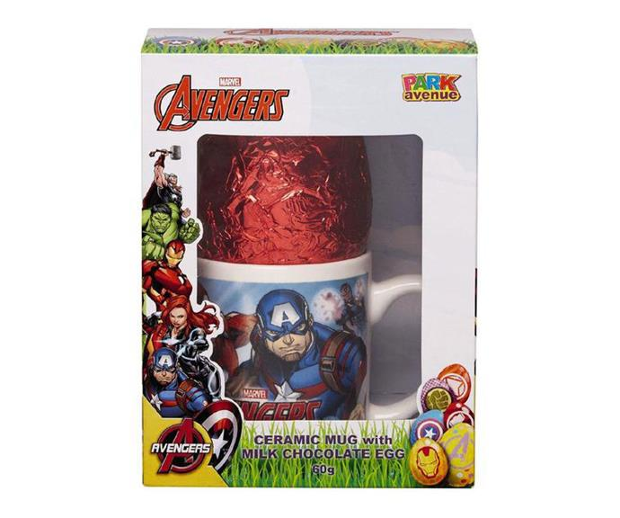 ***Avengers* ceramic mug and milk chocolate egg** <br><br> The arrival of both the *Captain Marvel* and new *Avengers* films means the world is superhero-crazy right now. If you've got an *Avengers*-obsessed kid in your household, this gift is perfect because it lives on, even after they've scoffed all the chocolate! The cute mug will soon take pride of place in your kitchen cabinet.  <br><br> *$5, Woolworths*