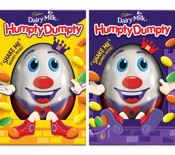 **Humpty Dumpty gift box** <br><br> This giant hollow egg is packed full of chocolate beans inside, which you can hear when you shake this cute gift box. Perfect for little kids who loved their chocolate with a side of fun! <br><br> *$7, from Coles and Woolworths*